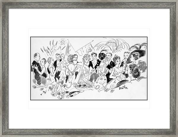 Drawing Of The London Society Dancing Night Away Framed Print by Cecil Beaton