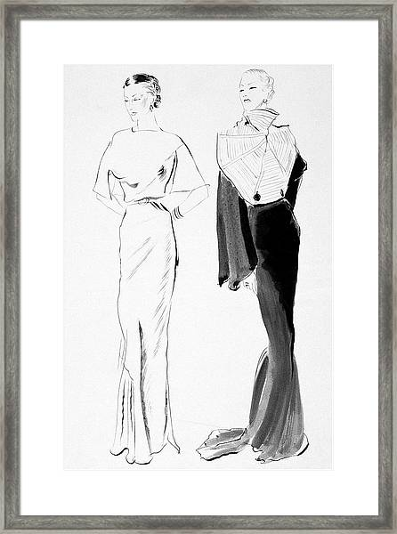Drawing Of Women In Evening Wear Framed Print by Rene Bouet-Willaumez