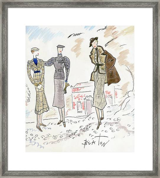 Drawing Of Women In Stylish Designer Outfits Framed Print