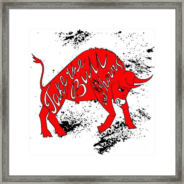 Drawing Red Angry Bull On The Grunge Framed Print by Ana Babii