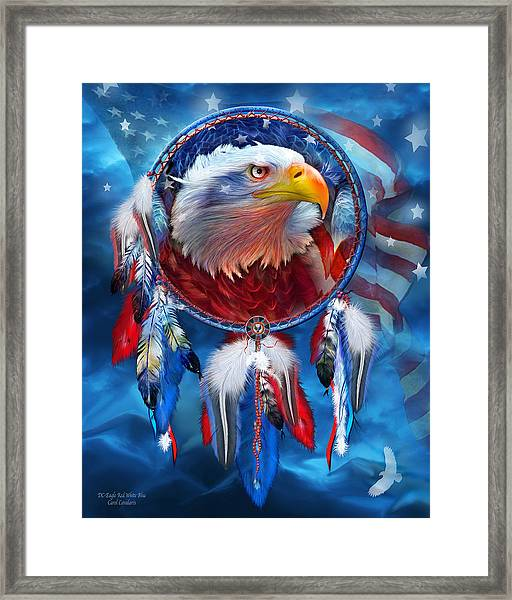 Dream Catcher - Eagle Red White Blue Framed Print