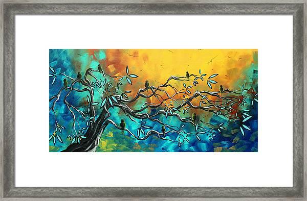 Dream Watchers Original Abstract Bird Painting Framed Print