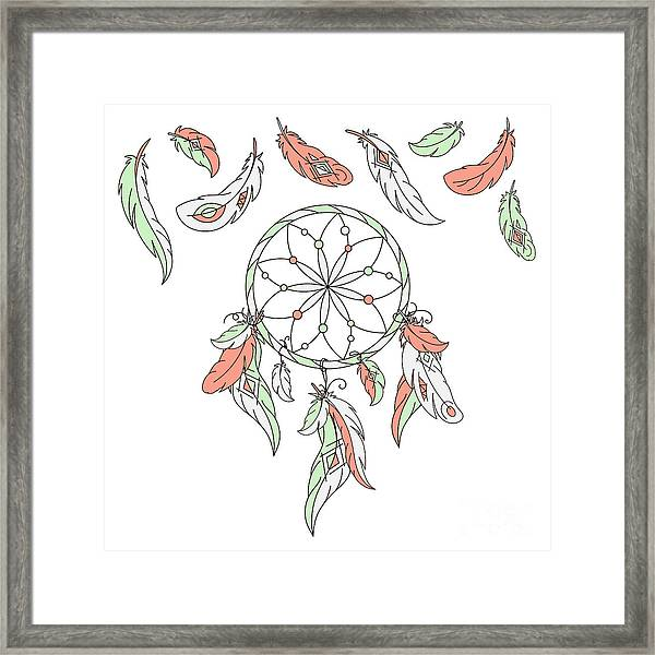 Dreamcatcher, Feathers. Vector Framed Print by Laata9