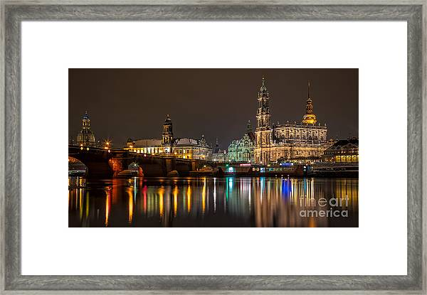 Dresden By Night Framed Print