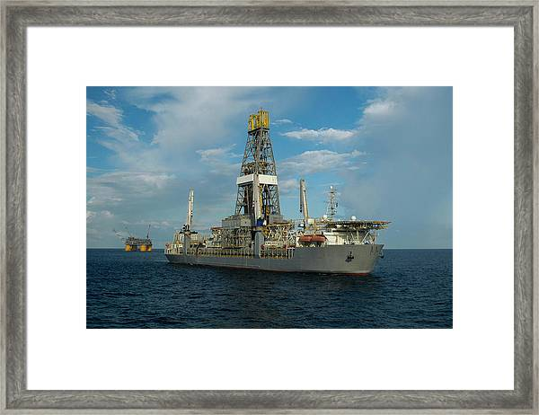 Drill Ship And Platform Framed Print