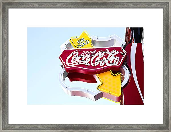 Drink Coca Cola Vintage Neon Sign Framed Print
