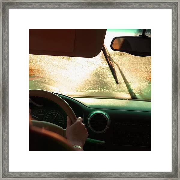 Driving In The Rain Framed Print