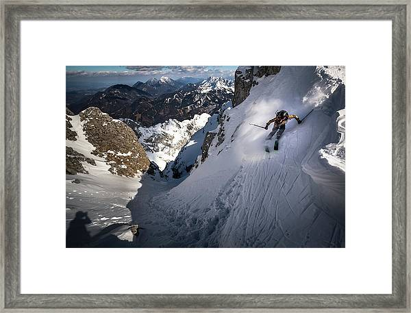 Drop Into Couloir Framed Print by Sandi Bertoncelj