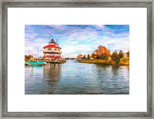 Drum Poiint Lighthouse Oil Abstract Framed Print