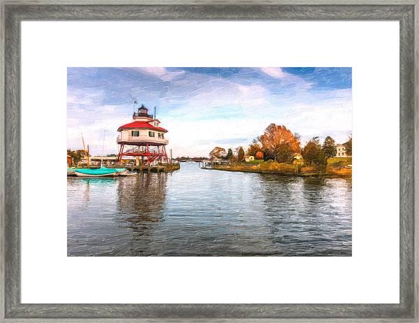 Drum Poiint Lighthouse Oil Painting Framed Print