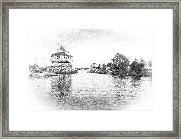 Drum Poiint Lighthouse Pencil Sketch Framed Print