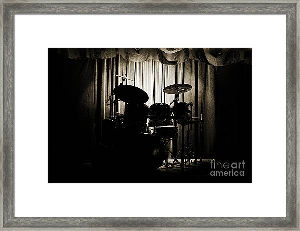 Drum Set On Stage Photograph Combo Jazz Sepia 3234.01 Framed Print