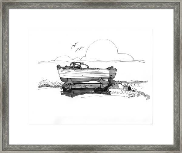 Dry Dock In Ocracoke Nc 1970s Framed Print