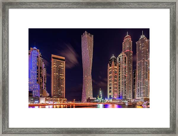 Dubai Marina Night Shot Framed Print