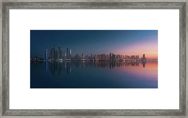 Dubai Marina Skyline Framed Print