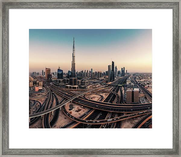 Dubai Skyline Panorama Framed Print
