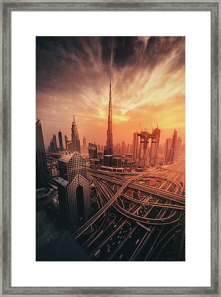Dubai's Fiery Sunset Framed Print