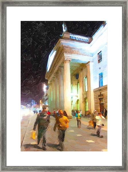 Dublin Ireland Post Office At Night Framed Print by Mark Tisdale