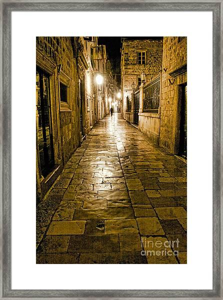 Dubrovnik Streets At Night Framed Print