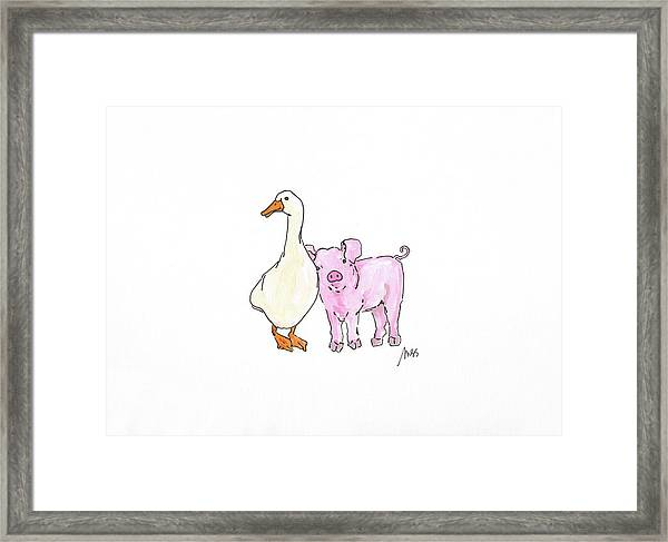Duck And Pig Framed Print