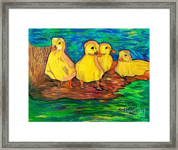 Ducklings Out By The Water Framed Print