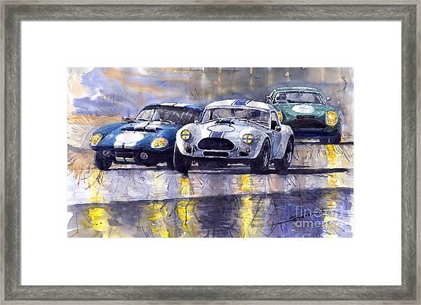 Duel Ac Cobra And Shelby Daytona Coupe 1965 Framed Print