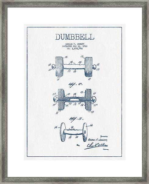 Dumbbell Patent Drawing From 1927  -  Blue Ink Framed Print