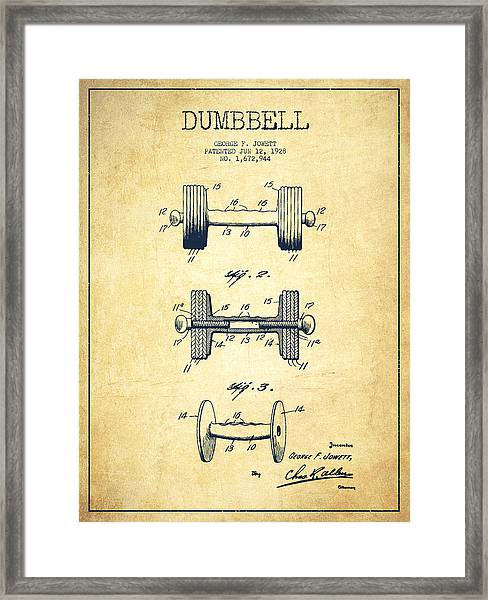 Dumbbell Patent Drawing From 1927 - Vintage Framed Print