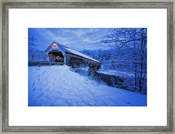 Dummerston Bridge In Winter Framed Print