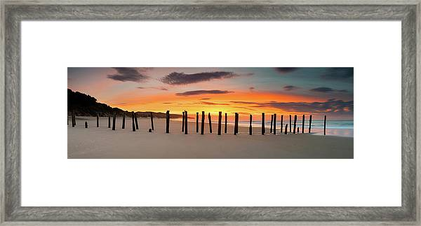 Dunedin St Clair Beach Sunrise Old Framed Print