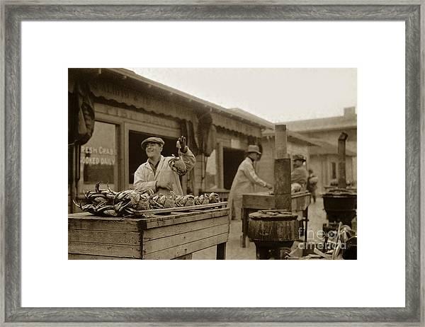 Dungeness Crabs At Fisherman's Wharf At San Francisco California. Circa 1935 Framed Print