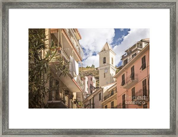 Duomo Bell Tower Of Manarola Framed Print