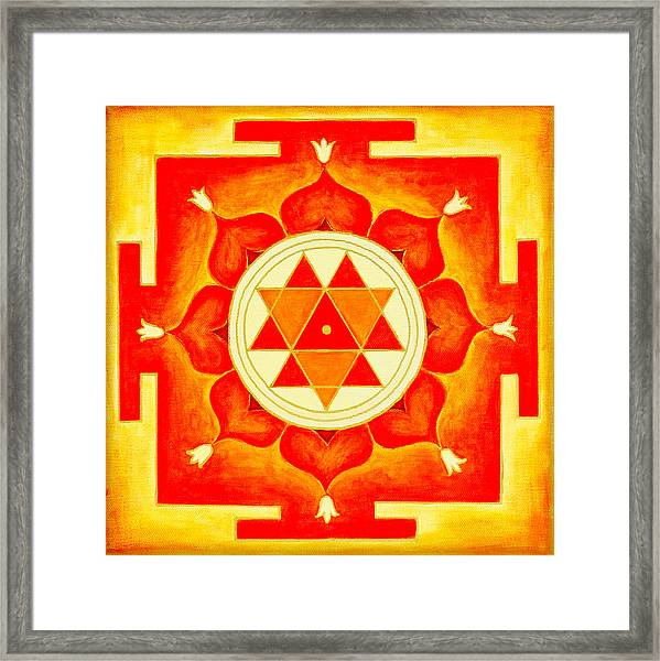 Framed Print featuring the photograph Durga Yantra Is A Powerful Yantra For Transformation Of Consciousness by Raimond Klavins