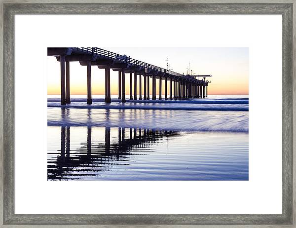 Framed Print featuring the photograph Dusk At Scripps Pier by Priya Ghose