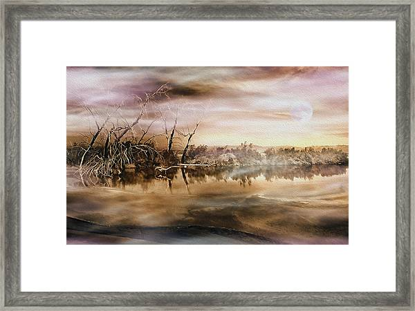 Dusk At The Pond Framed Print