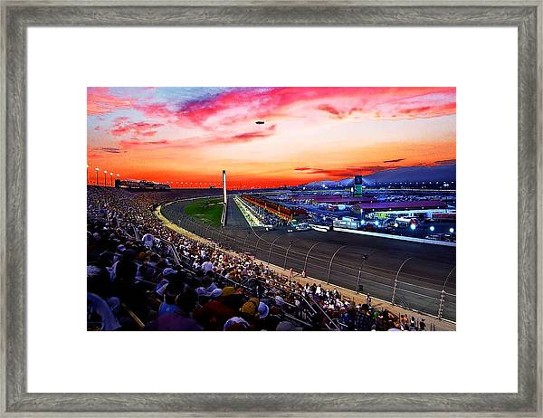 Dusk At The Racetrack Framed Print