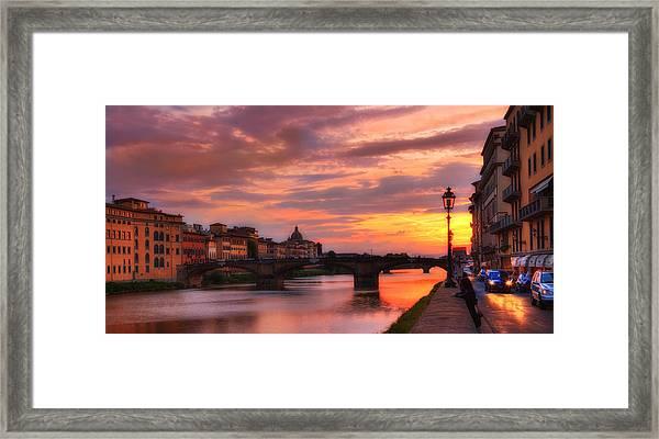 Dusk Florence Italy Framed Print