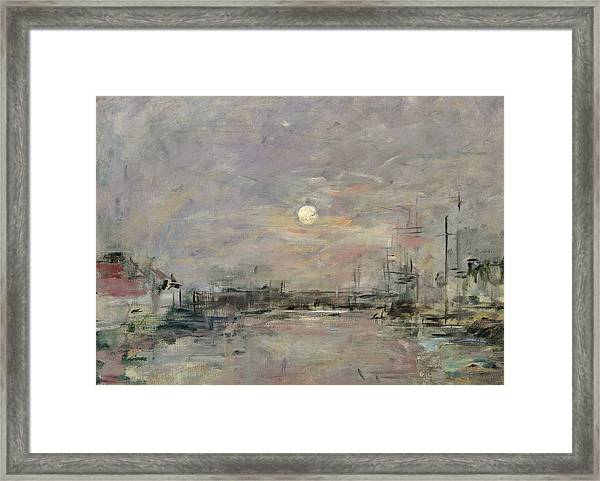Dusk On The Commercial Dock At Le Havre Framed Print
