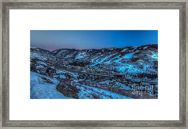 Dusk Setting In The Vail Valley Framed Print