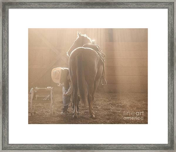 Dusty Morning Pedicure Framed Print