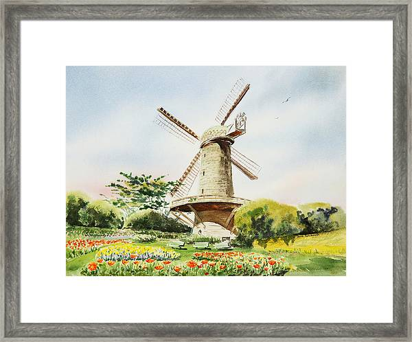 Dutch Windmill In San Francisco  Framed Print