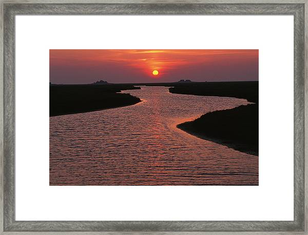 Dwelling Mounds In The Wadden Sea Framed Print