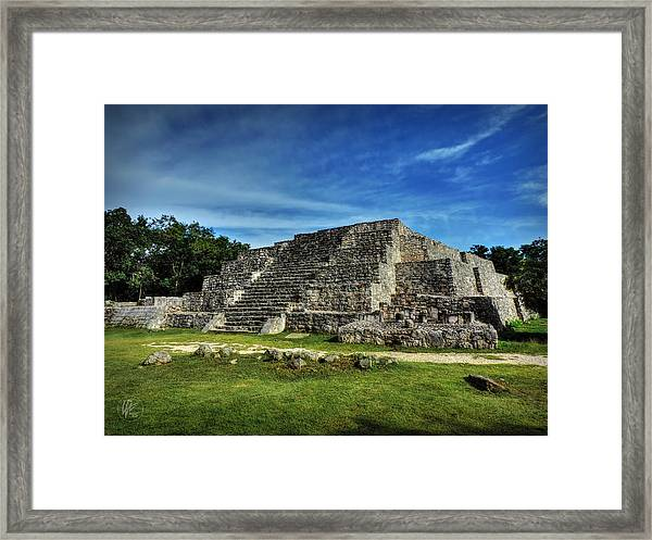 Framed Print featuring the photograph Dzibilchaltun Pyramid 002 by Lance Vaughn