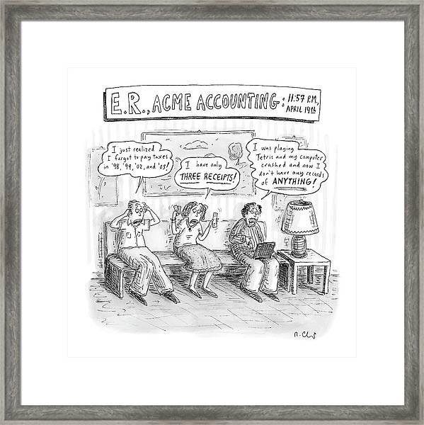 E. R., Acme Accounting:  11:57 P.m., April 14th Framed Print