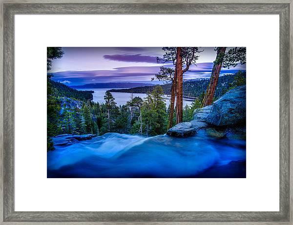 Eagle Falls At Dusk Over Emerald Bay  Framed Print