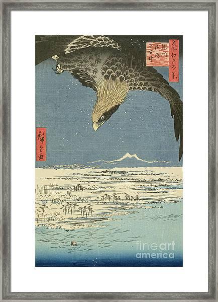 Eagle Over One Hundred Thousand Acre Plain At Susaki Framed Print