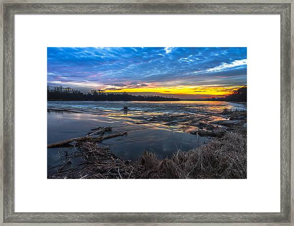 Early March Sunset Over Narew River In Poland Framed Print