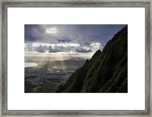 Early Morning Above Kane'ohe Framed Print by Melinda Podor