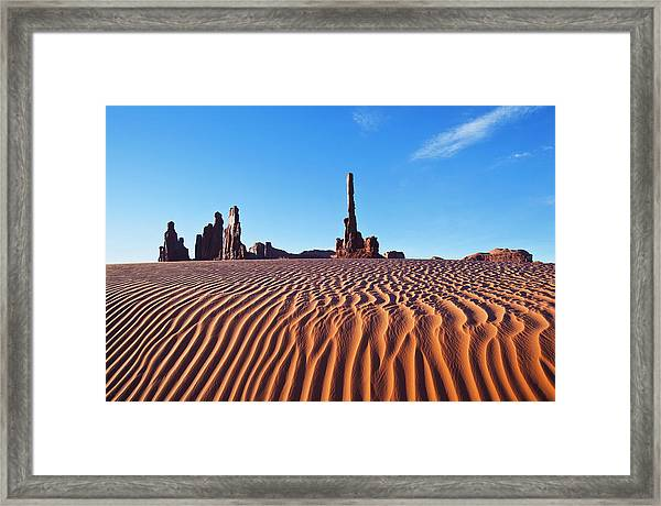 Early Morning Sand Dunes At Totem Pole Framed Print