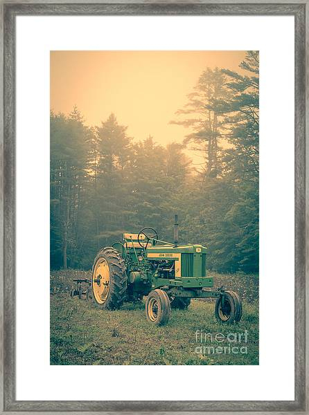 Early Morning Tractor In Farm Field Framed Print